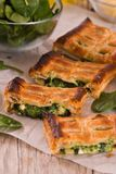 Pie with spinach and ricotta cheese. stock image