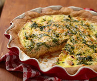 Pie with spinach and salmon Stock Image