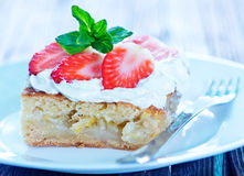 Pie with strawberry Stock Images