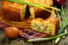 Pie stuffed with eggs and onion closeup. Stock Photography