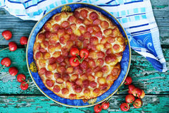 Pie with sweet cherries, top view Royalty Free Stock Images