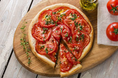 Pie with tomato tart Stock Image