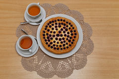 Pie and two cups of tea Royalty Free Stock Image