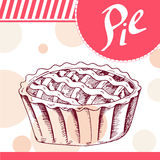 Pie vector illustration. Bakery design. Beautiful card with decorative typography element. Pie icon for poster Stock Images