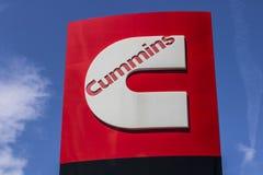 Pie Wayne - circa agosto de 2017: Cummins Inc Señalización y logotipo Cummins es fabricante de los motores y del equipo de poder  Imagen de archivo libre de regalías