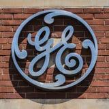Pie Wayne - circa agosto de 2017: Logotipo de la fábrica de General Electric Las divisiones de GE incluyen la aviación, la energí imagen de archivo