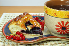 Pie With Currant And Tea Stock Image
