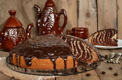 Pie Zebra with chocolate icing Stock Image
