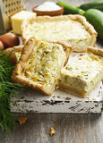 Pie with zucchini and herbs Stock Photos