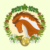 Piebald horse hunting theme vector. Piebald horse head of stallion leaves and french horn hunting theme vector illustration Royalty Free Stock Images