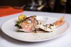 Piec cała ryba z ziele i cytryną Obraz Royalty Free