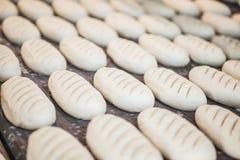 Piec chleby na linii produkcyjnej przy piekarnią Zdjęcie Royalty Free
