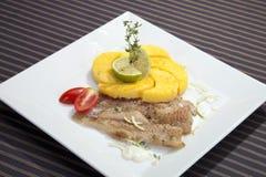 piec codfish kukurudza piec na grillu polenta Zdjęcia Royalty Free