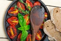 Piec czereśniowi pomidory z basilem i macierzanką Zdjęcie Royalty Free