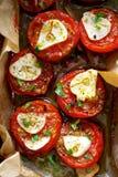 Piec czereśniowi pomidory z czosnkiem i ziele Fotografia Royalty Free