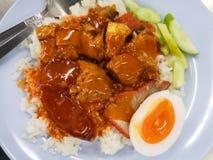 Piec czerwona wieprzowina z jajkiem na ryżu naczyniu obrazy royalty free
