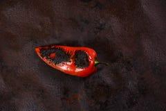 Piec Czerwonych pieprze Proces Ajvar Zdjęcia Royalty Free