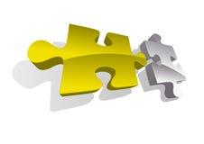 Piec di puzzle dell'oro e dell'argento di vettore Immagine Stock Libera da Diritti