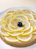 Piec domowej roboty cytryny tarta tort z cytryną pokrajać obrazy royalty free