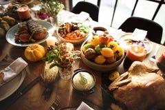 Piec Indyczy dziękczynienie stołu położenia pojęcie zdjęcie stock