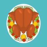 Piec indyczy odgórny widok Świąteczny jedzenie dla dziękczynienia Kurczak dalej royalty ilustracja