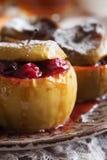 Piec jabłka z cranberries makro- Fotografia Royalty Free