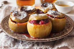 Piec jabłka z cranberry i cukieru proszkiem Obraz Stock