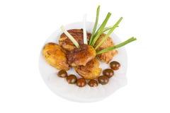 Piec kartoflany i minced kurczaka cutlet zdjęcia stock