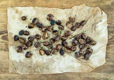 Piec kasztany na wazeliniarskim będącym ubranym rzemiośle tapetują nad nieociosanym drewnianym tłem, odgórny widok Obrazy Stock