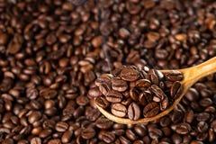 Piec kawowe fasole w drewnianej łyżce, zbliżenie Zdjęcia Royalty Free