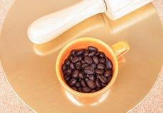 Piec kawowe fasole w filiżance Zdjęcia Royalty Free