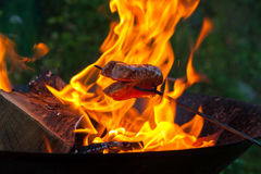 Piec kiełbasy na obozuje ogień Zdjęcia Royalty Free