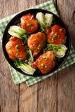 Piec kurczaków uda z Pak, czosnkiem i zieleni oni choy, imbirowym, Fotografia Royalty Free