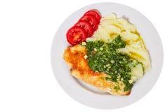 Piec kurczak pierś z pesto puree ziemniaczane i kumberlandem Odgórny widok odosobniony Obrazy Royalty Free