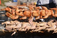 Piec kurczaki na grillu plenerowym pieczone mięso obraz stock