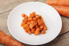Piec marchewki dla jarzynowej sałatki obraz royalty free