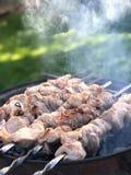 Piec mięso na skewers, gotujących przy grillem na słonecznym dniu obraz royalty free