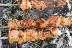 Piec mięso na węglach ogień Mięso na skewers Obraz Royalty Free
