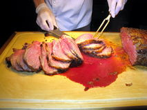 piec mięso tnący proces Zdjęcia Stock