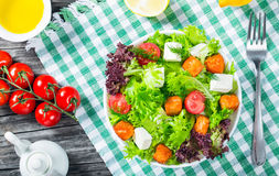 Piec na grillu łosoś ryba, pomidory, koźli ser, sałata, oliwa z oliwek, c Zdjęcie Royalty Free