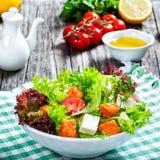Piec na grillu łosoś ryba, pomidory, koźli ser, sałata, oliwa z oliwek, c Obrazy Royalty Free