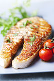 piec na grillu łososiowy stek Fotografia Royalty Free