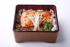 Piec na grillu łososiowy teriyaki z japońskimi ryż w pudełku odizolowywającym na wh Zdjęcie Stock