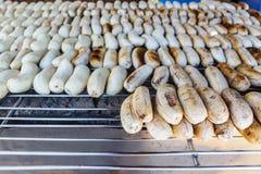 Piec na grillu banan Fotografia Stock