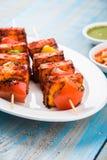 Piec na grillu chałupa ser lub także znać jako Paneer Tikka Kebab, chili chili, paneer lub lub, bar paneer lub tandoori paneer w  Zdjęcia Stock