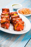 Piec na grillu chałupa ser lub także znać jako Paneer Tikka Kebab, chili chili, paneer lub lub, bar paneer lub tandoori paneer w  Obraz Stock