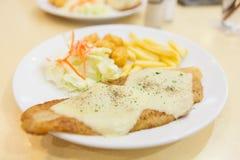 Piec na grillu dolly rybiego stku posiłek słuzyć Obrazy Stock