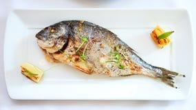 Piec na grillu dorada ryba Zdjęcia Royalty Free
