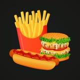 Piec na grillu dwoisty kurczaka hamburger, hot dog z ketchupem i duży pudełko dłoniaki, ilustracja wektor