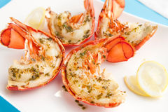 Piec na grillu homarów ogony Zdjęcie Royalty Free